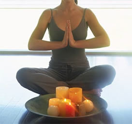 Yoga with candles